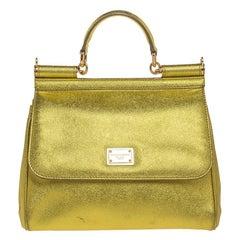 Dolce & Gabbana Metallic Lemon Leather Medium Miss Sicily Top Handle Bag