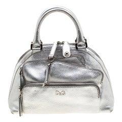 Dolce & Gabbana Metallic Silver Leather Mindy Satchel