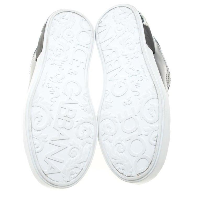 Women's Dolce & Gabbana Metallic Silver Mirror Leather Platform Sneakers Size 42.5