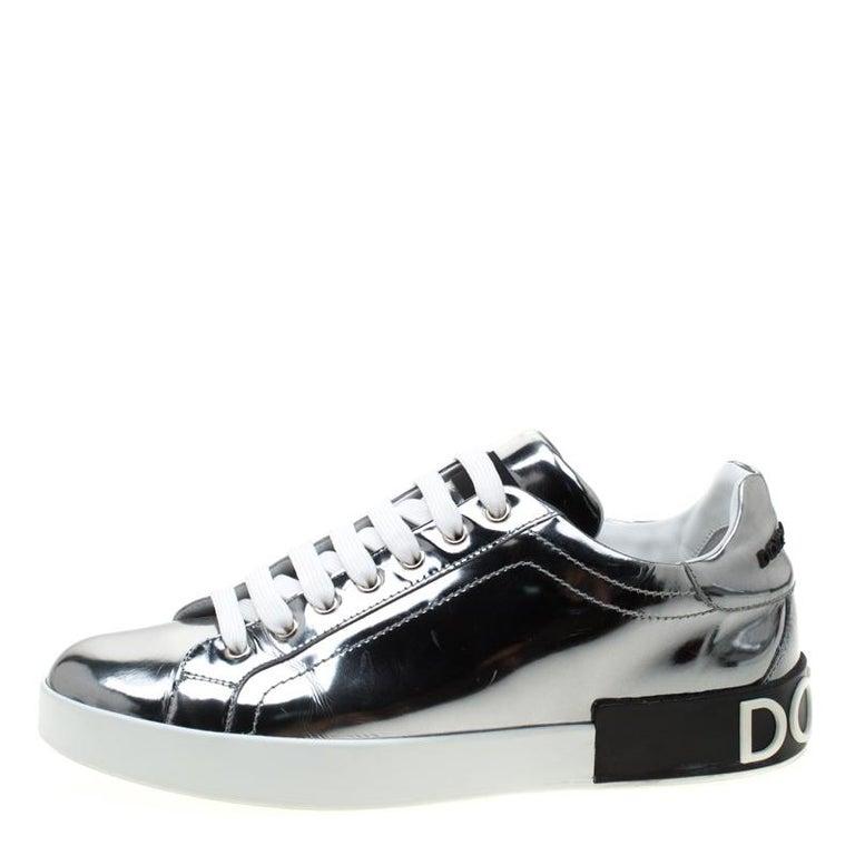 Dolce & Gabbana Metallic Silver Mirror Leather Platform Sneakers Size 42.5 1
