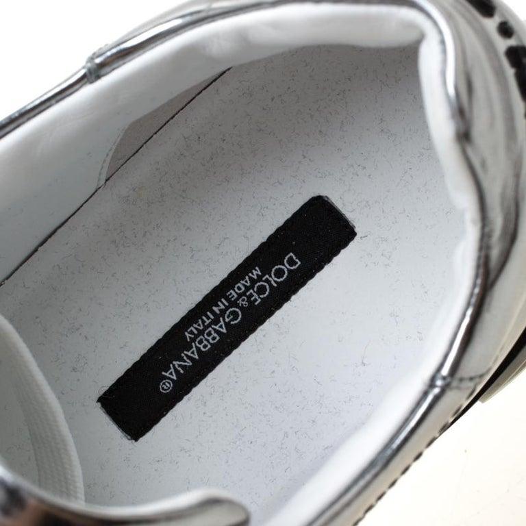 Dolce & Gabbana Metallic Silver Mirror Leather Platform Sneakers Size 42.5 2