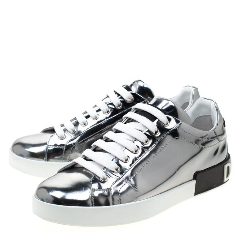Dolce & Gabbana Metallic Silver Mirror Leather Platform Sneakers Size 42.5 3