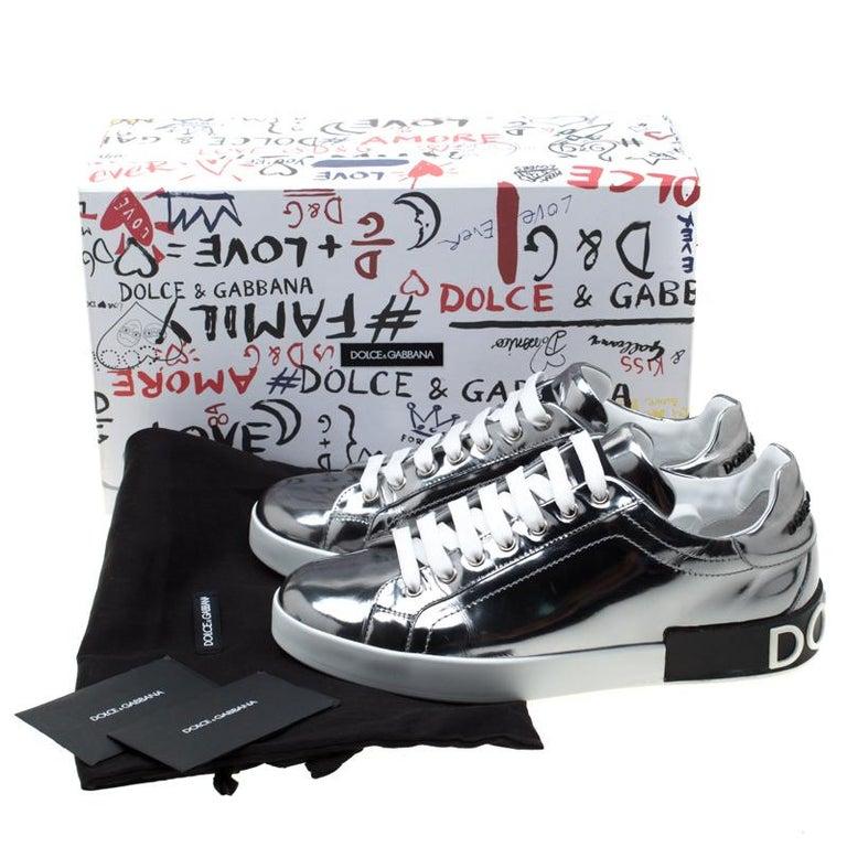 Dolce & Gabbana Metallic Silver Mirror Leather Platform Sneakers Size 42.5 4