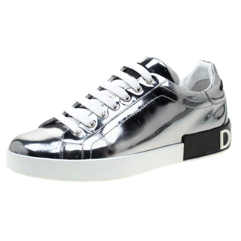 Dolce & Gabbana Metallic Silver Mirror Leather Platform Sneakers Size 42.5