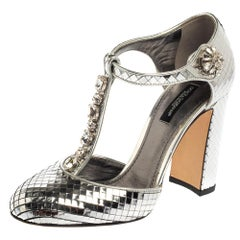 Dolce & Gabbana Metallic Silver Textured Leather T Strap Pumps Size 36.5