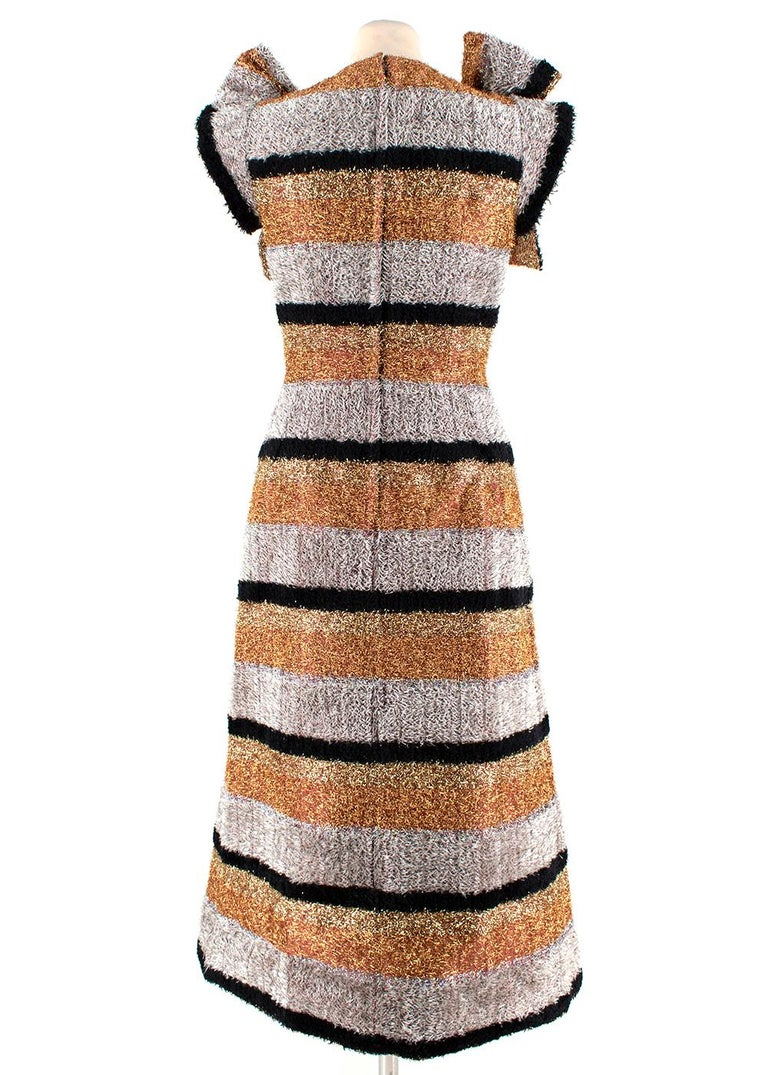 Brown Dolce & Gabbana Metallic Textured Striped Dress - Size US 0-2 For Sale