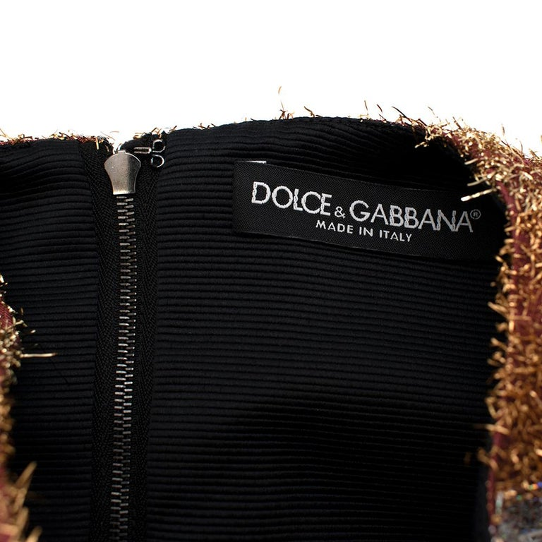 Dolce & Gabbana Metallic Textured Striped Dress - Size US 0-2 For Sale 1