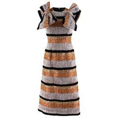 Dolce & Gabbana Metallic Textured Striped Dress - Size US 0-2