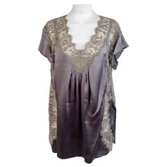 Dolce & Gabbana Military Green Silk Top with Lace Size 42