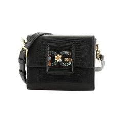 Dolce & Gabbana Millennials Shoulder Bag Embellished Lizard Embossed Leather Min