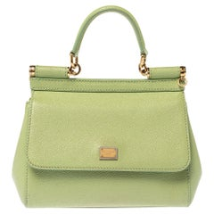 Dolce & Gabbana Mint Green Leather Small Miss Sicily Top Handle Bag