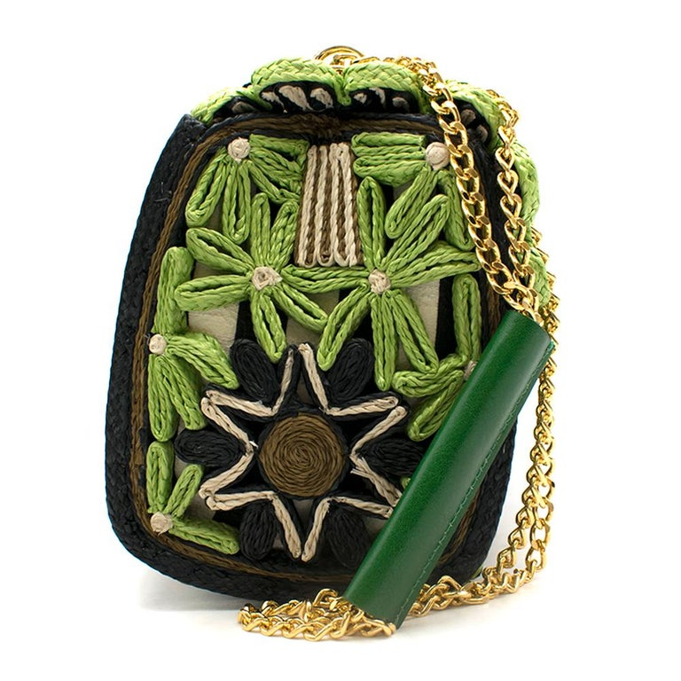 Miss Dolce Floral Raffia Satchel Bag, Green/Black    woven raffia flowers embroidered on canvas, with gold chain, with a leather smooth handle  - Golden hardware includes decorative padlock closure on flap top. - Handmade in Italy - Interior, one