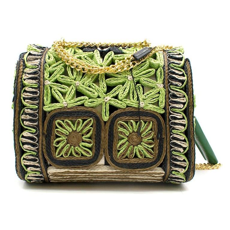 Black Dolce & Gabbana Miss Dolce Floral Raffia Satchel Bag For Sale