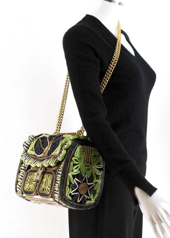 Dolce & Gabbana Miss Dolce Floral Raffia Satchel Bag For Sale 1