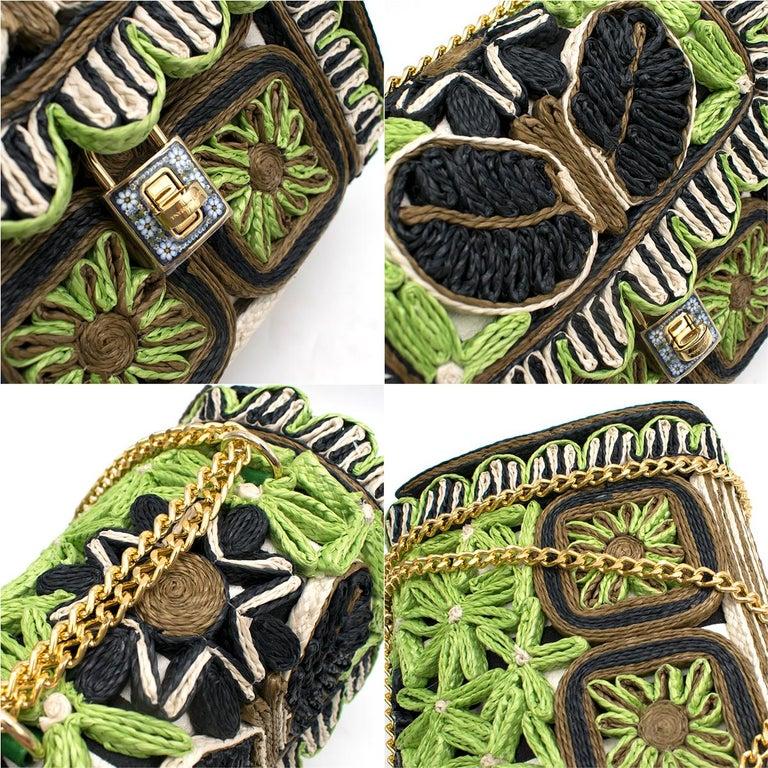 Dolce & Gabbana Miss Dolce Floral Raffia Satchel Bag For Sale 2