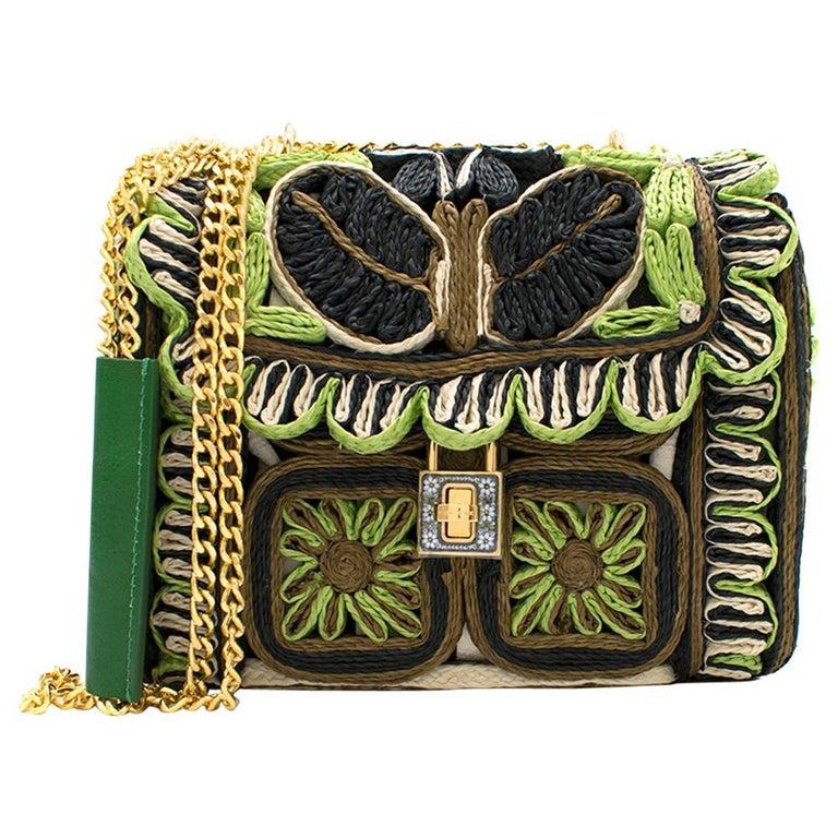 Dolce & Gabbana Miss Dolce Floral Raffia Satchel Bag For Sale