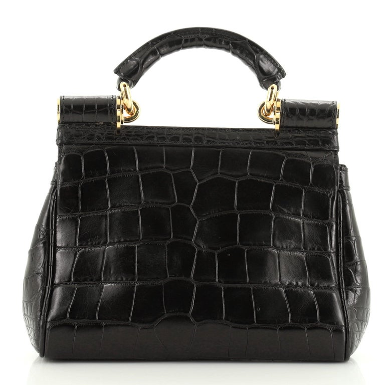 Dolce & Gabbana Miss Sicily Bag Crocodile Embossed Leather Mini  In Good Condition For Sale In New York, NY