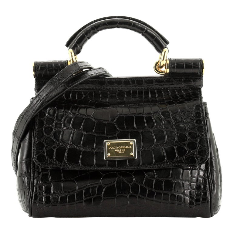 Dolce & Gabbana Miss Sicily Bag Crocodile Embossed Leather Mini  For Sale