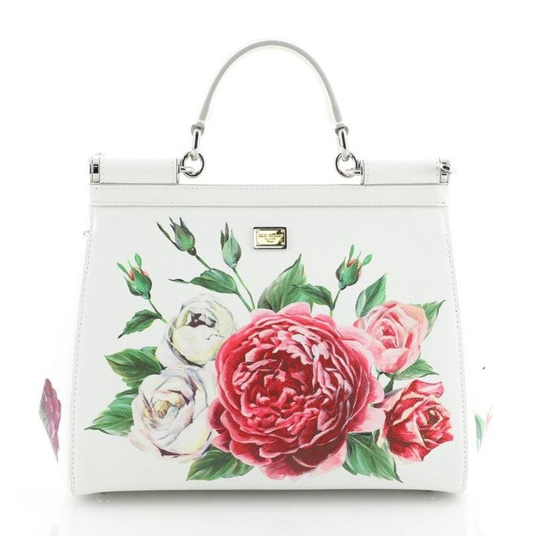 Dolce & Gabbana Miss Sicily Bag Embellished Printed Leather Medium In Good Condition For Sale In New York, NY