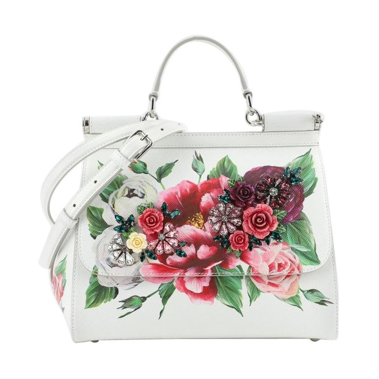 Dolce & Gabbana Miss Sicily Bag Embellished Printed Leather Medium For Sale