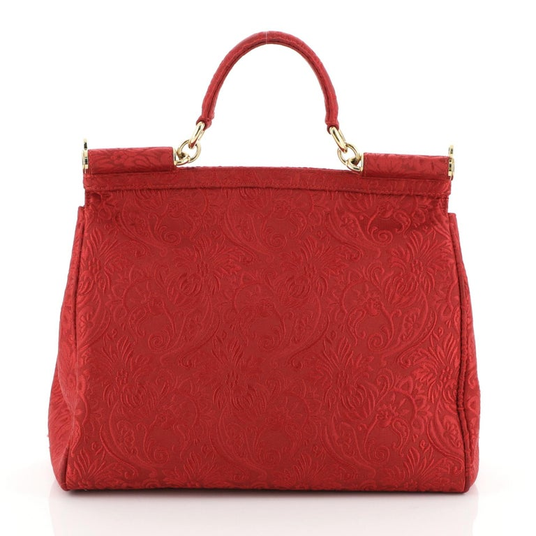 Dolce & Gabbana Miss Sicily Bag Jacquard Large In Good Condition For Sale In New York, NY