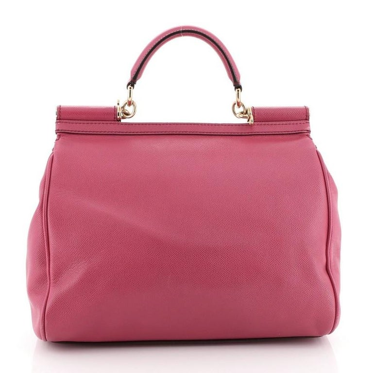 Pink Dolce & Gabbana Miss Sicily Bag Leather Large For Sale