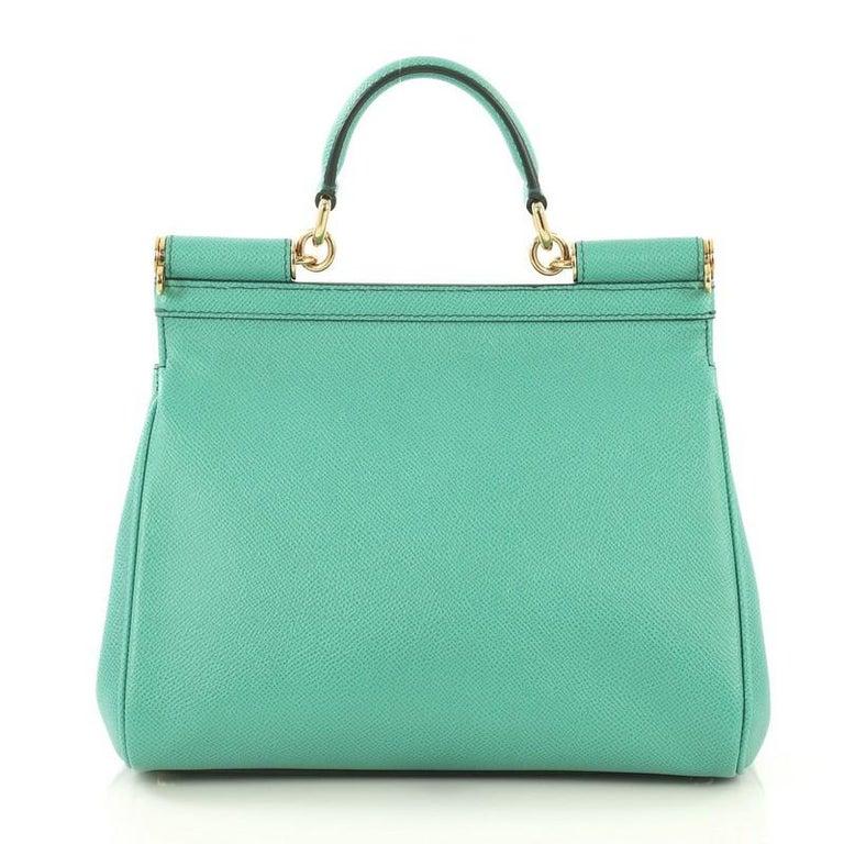 Blue Dolce & Gabbana Miss Sicily Bag Leather Medium For Sale