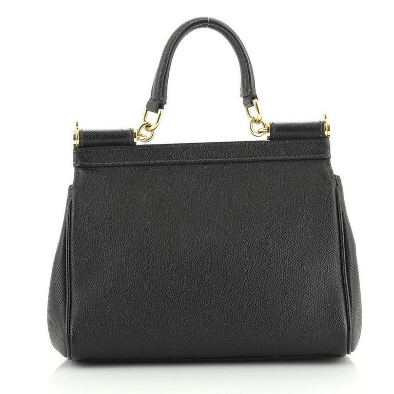 Black Dolce & Gabbana Miss Sicily Bag Leather Small For Sale