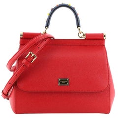 Dolce & Gabbana Miss Sicily Bag Leather with Studded Detail Medium