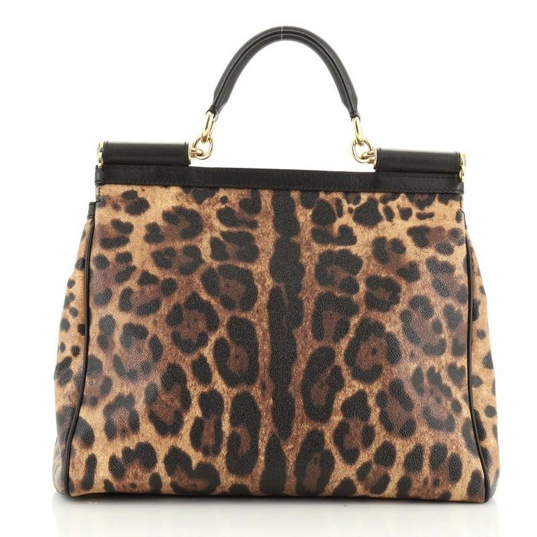Dolce & Gabbana Miss Sicily Bag Leopard Print Leather Large In Good Condition For Sale In New York, NY
