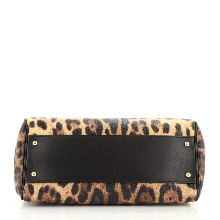Women's or Men's Dolce & Gabbana Miss Sicily Bag Leopard Print Leather Large For Sale