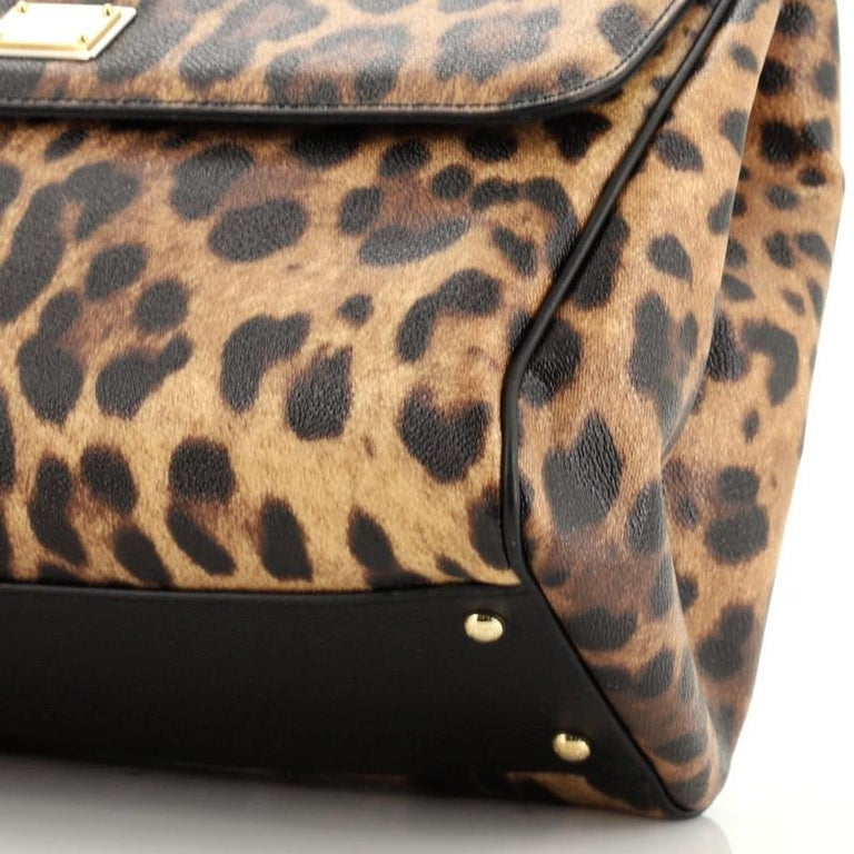 Dolce & Gabbana Miss Sicily Bag Leopard Print Leather Large For Sale 2