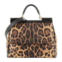 Dolce & Gabbana Miss Sicily Bag Leopard Print Leather Large