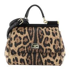 Dolce & Gabbana Miss Sicily Bag Leopard Print Leather Medium