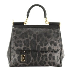 Dolce & Gabbana Miss Sicily Bag Leopard Print Leather Medium