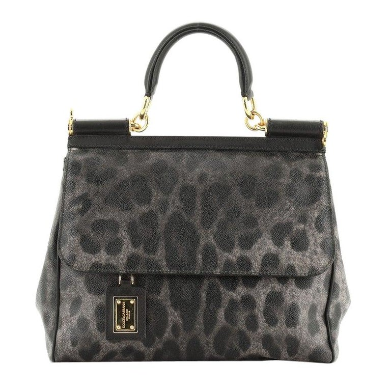 Dolce & Gabbana Miss Sicily Bag Leopard Print Leather Medium For Sale