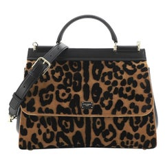 Dolce & Gabbana Miss Sicily Bag Leopard Print Velvet with Leather Large