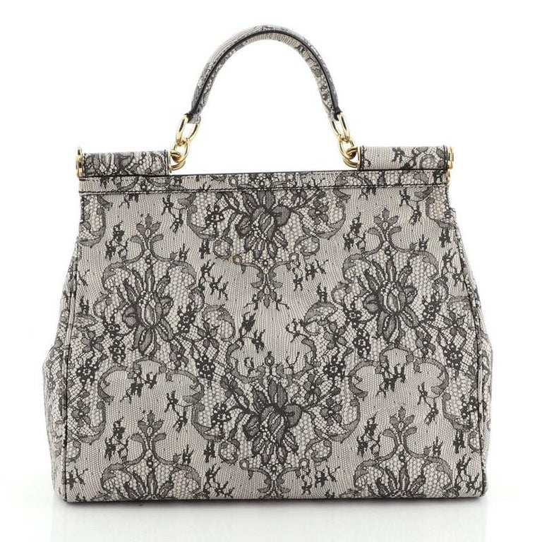 Gray Dolce & Gabbana Miss Sicily Bag Printed Leather Large