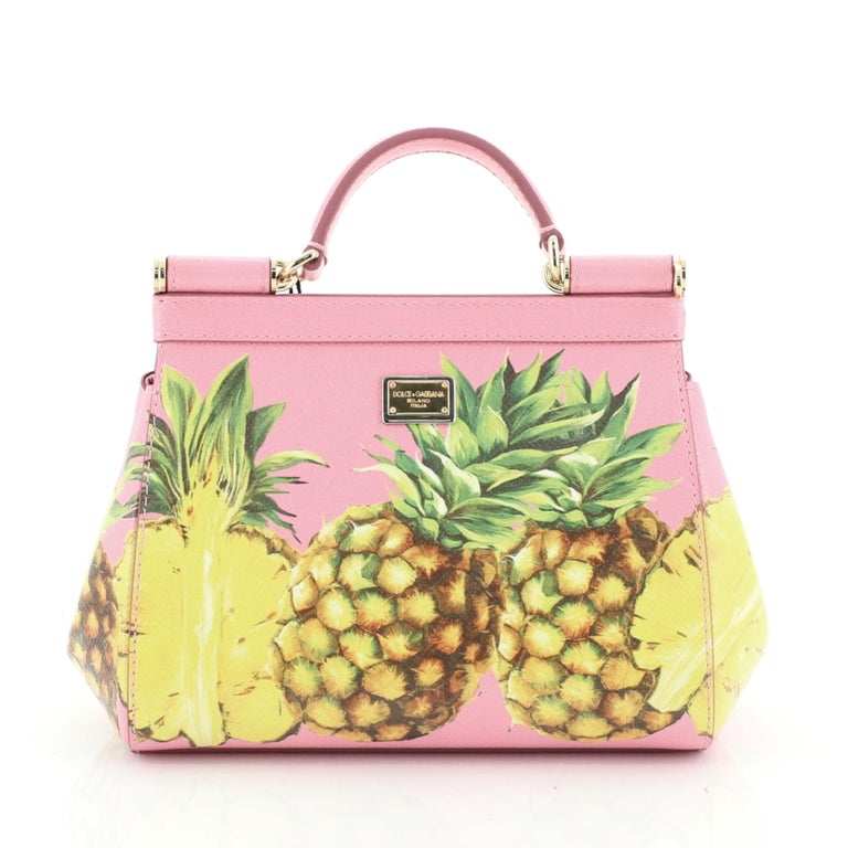 Dolce & Gabbana Miss Sicily Bag Printed Leather Mini In Good Condition In New York, NY