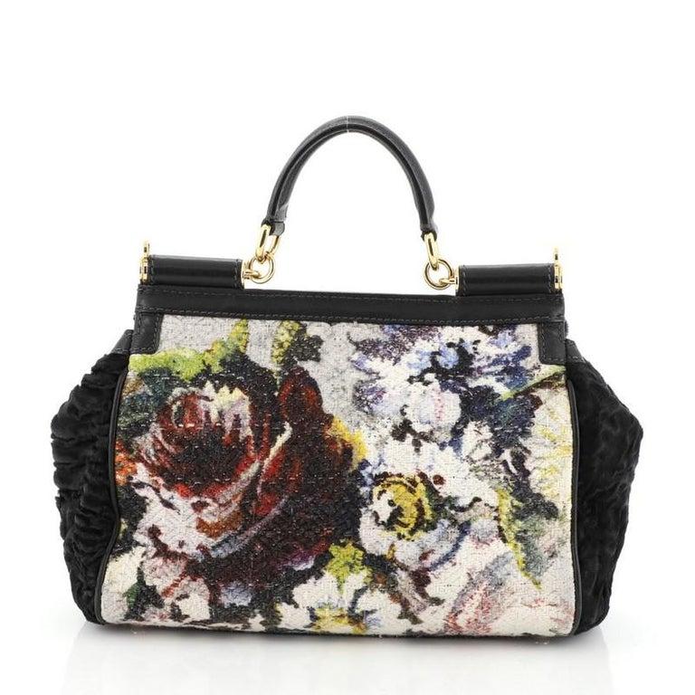 Black Dolce & Gabbana Miss Sicily Bag Velvet and Crochet Medium For Sale