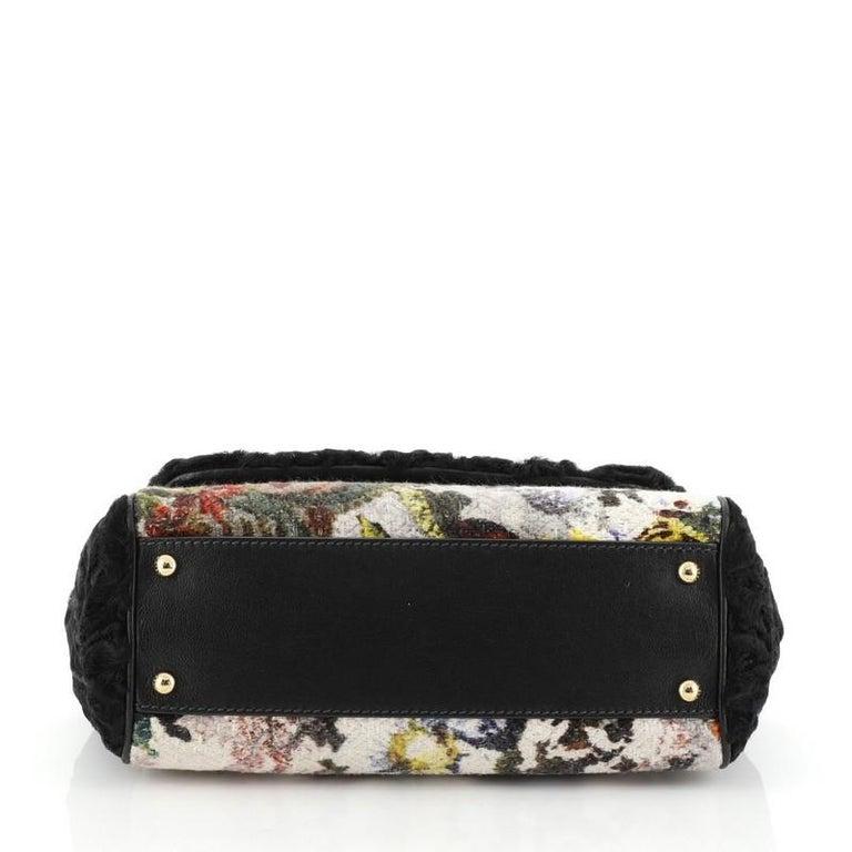 Dolce & Gabbana Miss Sicily Bag Velvet and Crochet Medium In Good Condition For Sale In New York, NY
