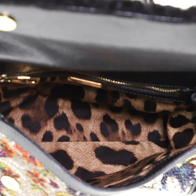 Dolce & Gabbana Miss Sicily Bag Velvet and Crochet Medium For Sale 2