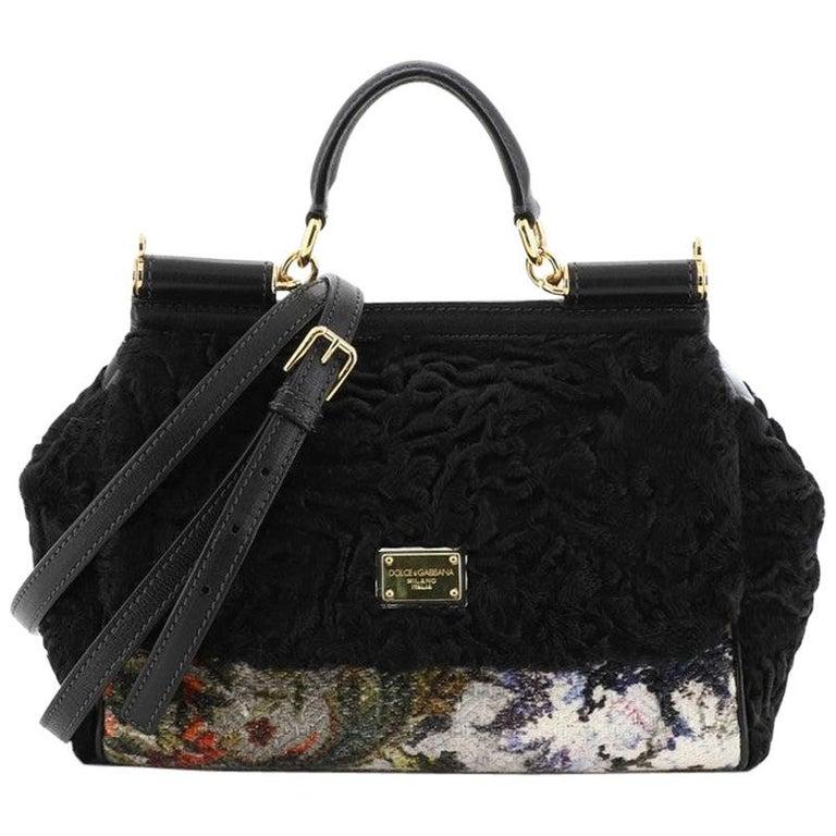 Dolce & Gabbana Miss Sicily Bag Velvet and Crochet Medium For Sale