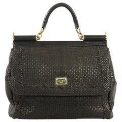 Dolce & Gabbana Miss Sicily Bag Woven Leather Large