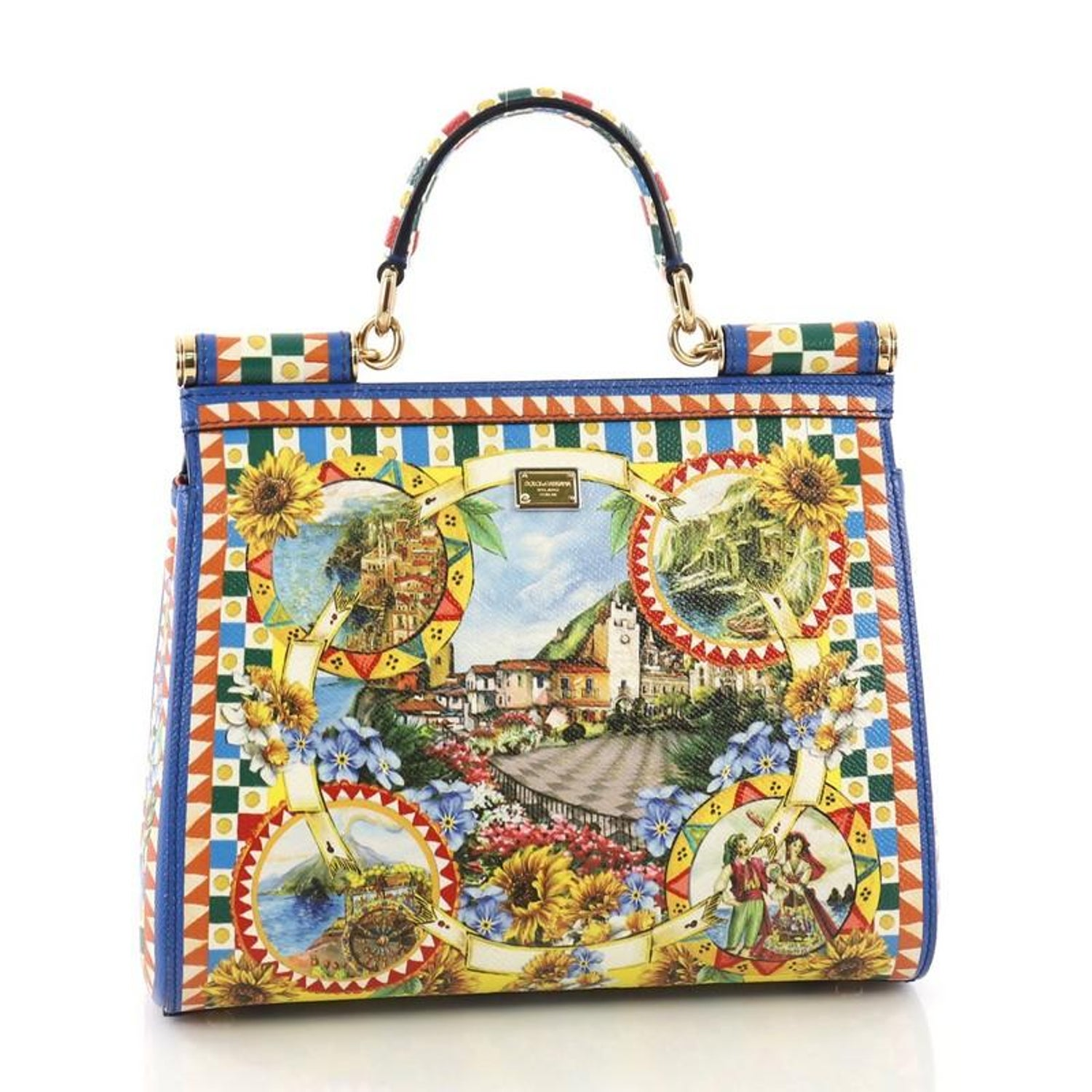 9d98d72856 Dolce and Gabbana Miss Sicily Handbag Printed Leather Medium at 1stdibs