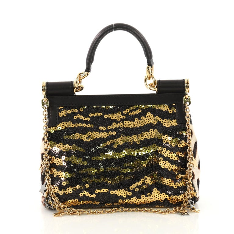 f5c9c8cb8664 Dolce   Gabbana Miss Sicily Handbag Sequins Small In Good Condition For  Sale In New York