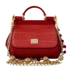 Dolce & Gabbana Miss Sicily Small Red Leather Tote