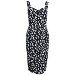 Dolce & Gabbana Monochrome Floral Printed Crepe Sleeveless Sheath Dress M