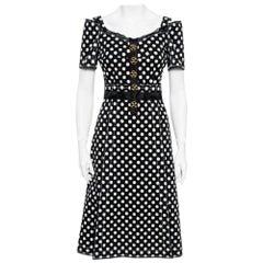 Dolce & Gabbana Monochrome Polka Dot Print Cotton Canvas Dress S