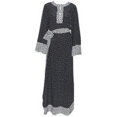 Dolce & Gabbana Monochrome Polka Dot Silk Belted Maxi Dress L